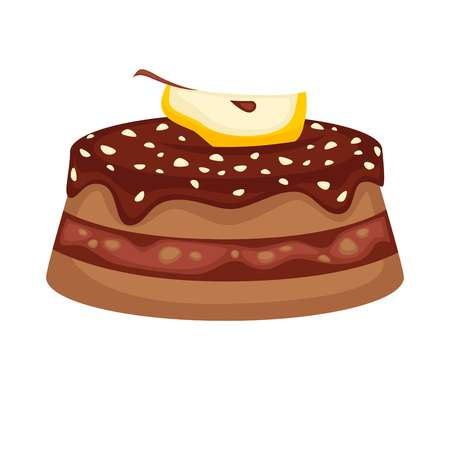 Chocolate cake torte with apple topping vector template icon