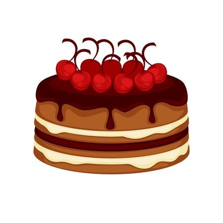 pastel de chocolate: Torta de pastel de chocolate con cereza topping vector plantilla icono