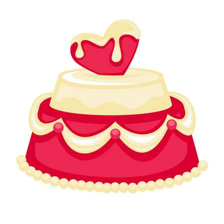 Wedding cake with pink heart bridal decor vector template icon