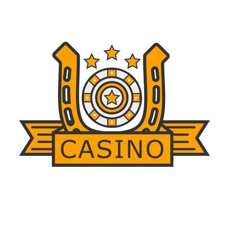 herradura: Casino poker gambler roulette and golden horseshoe vector template