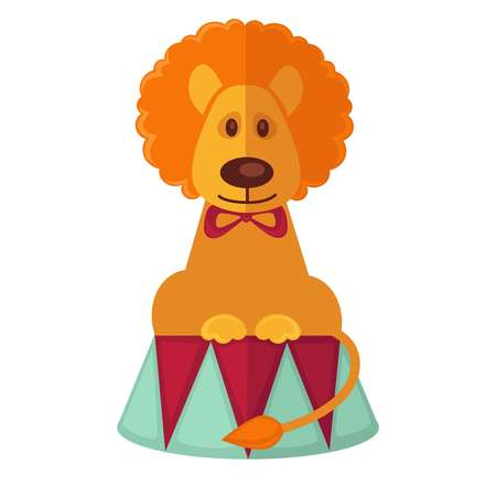 trained: Circus trained lion vector isolated cartoon flat icon