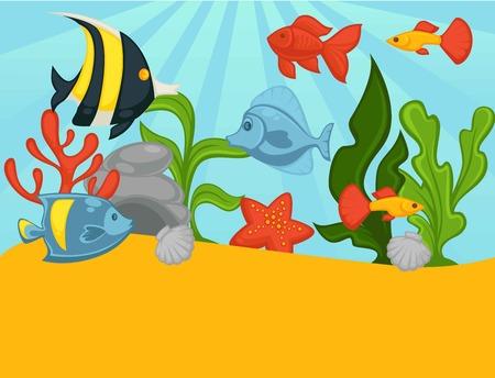 tropical plants: Aquarium tropical fishes and plants vector illustration