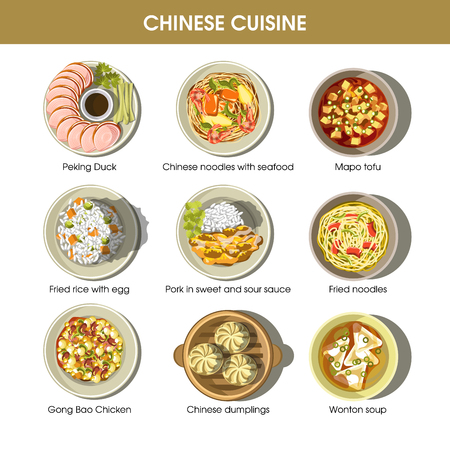 Chinese cuisine menu traditional dishes vector flat icons set