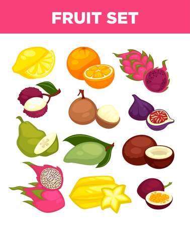 Exotic tropical fruits vector isolated icons set Illustration
