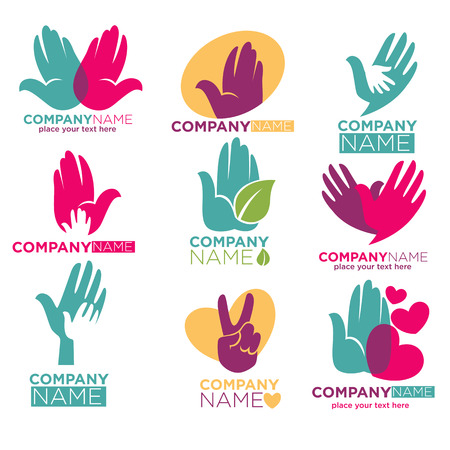 Hand heart vector icons for charity ot donation company