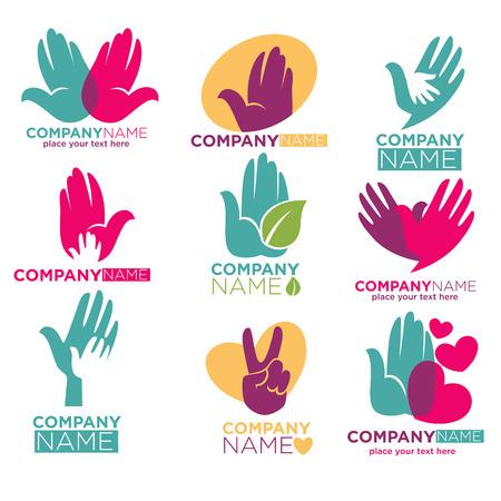 Hand hart vector iconen voor liefdadigheid of donatie bedrijf Stockfoto - 73141982