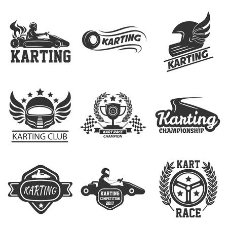 Karting club o kart carreras deporte vector plantilla iconos conjunto
