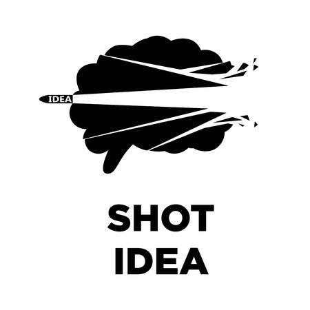 creative brain: Brain shot idea icon. Creative thinking concept vector template