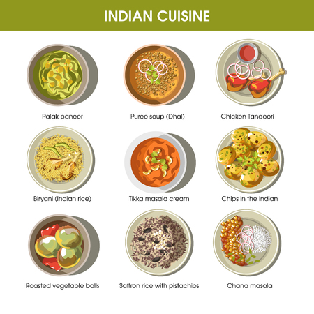 Indian cuisine traditional dishes vector flat icons set Illustration
