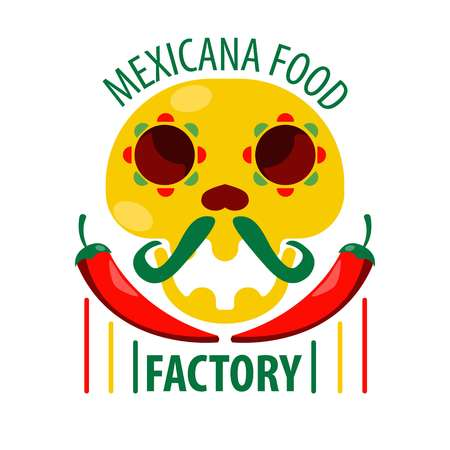 chili pepper: Mexican food restaurant skull and chili pepper vector icon template Illustration