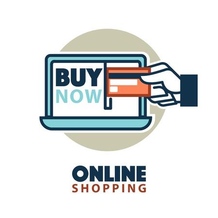 web shopping: Online shopping web icon template vector computer, credit card Illustration