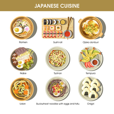 Japanese cuisine traditional dishes vector flat icons set Vectores