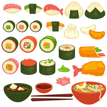 fried shrimp: Sushi rolls and sashimi Japanese cuisine restaurant menu vector icons