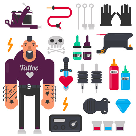 master: Tattoo master and tattooing tools vector icons set