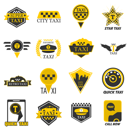 Taxi web icons set yellow checkered flag, star, wings