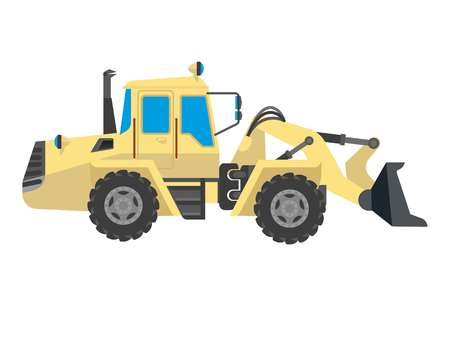 road scraper: Bulldozer modern model isolated on white background. Vector crawler