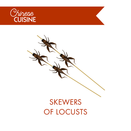 Skewers of locusts on sticks isolated on white background