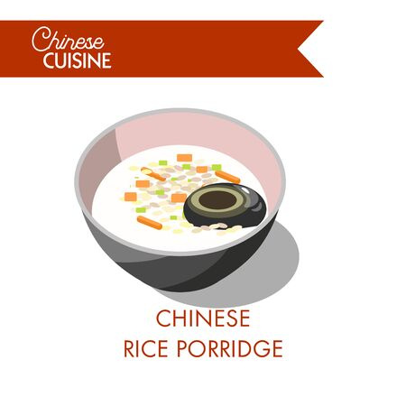 Chinese rice porridge in bowl isolated on white. Congee gruel