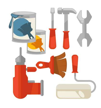 reconditioning: Building tools colorful vector set isolated on white Illustration