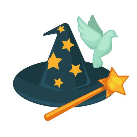 Witch hat with stars, magic wand and dove isolated