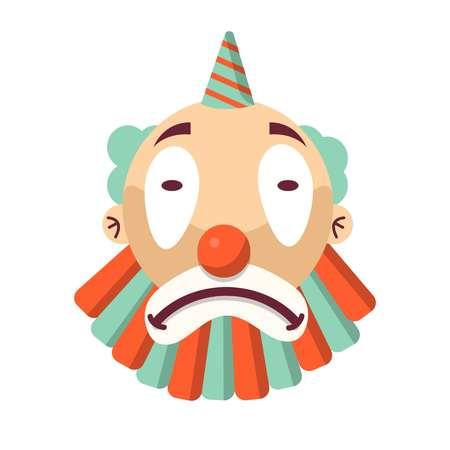 payasos caricatura: Cara de payaso infeliz de dibujos animados aislado en blanco. Triste, comediante, cabeza