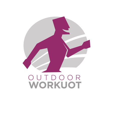 outdoor training: Outdoor workout design of silhouette running with open mouth