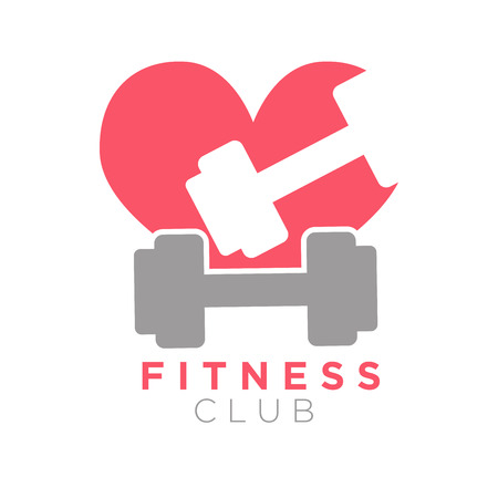 Fitness club logo design with dumbbells on background of heart. Illustration