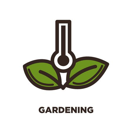 Gardening logo design with thermometer and two green leaves