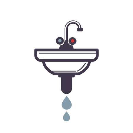 Washbasin with pipe spraying water icon on white Illustration