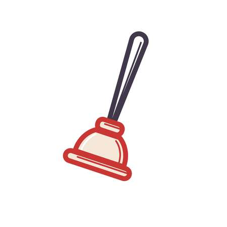 Toilet rubber plunger red cup on white background. Vector illustration Illustration