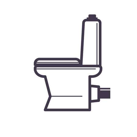 toilette: Flush toilet icon sanitation porcelain fixture symbol with white seat Illustration
