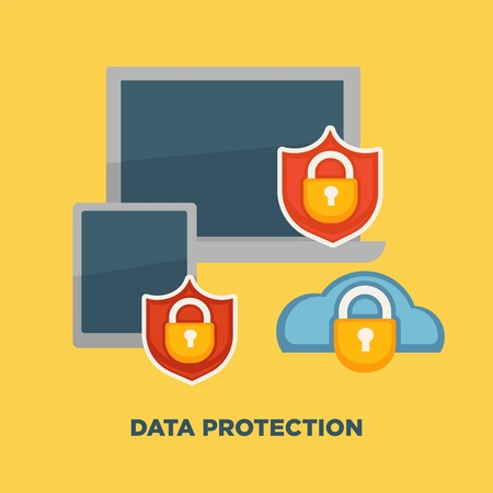 Data protection folder lock on internet security isolated on yellow.