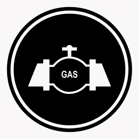 dangerous work: Danger attention sign in round shape with gas pipe Illustration