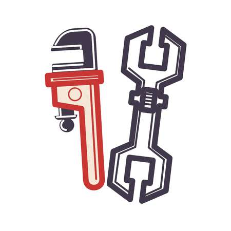 adjustable: Two adjustable wrenches in cartoon style flat isolated on white. Illustration