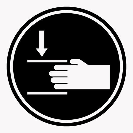black background: Protecting hand icon with lines. Danger sign attention black circle