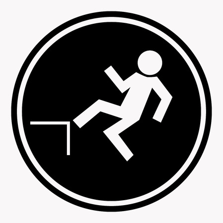 Risk of falling from height of human danger sign black circle isolated