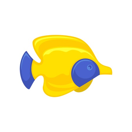 Yellow-blue royal angelfish in flat design isolated on white. Vector illustration of colorful animal living in water and able to swim. Close up icon of exotic fish in yellow color with blue spots Illustration