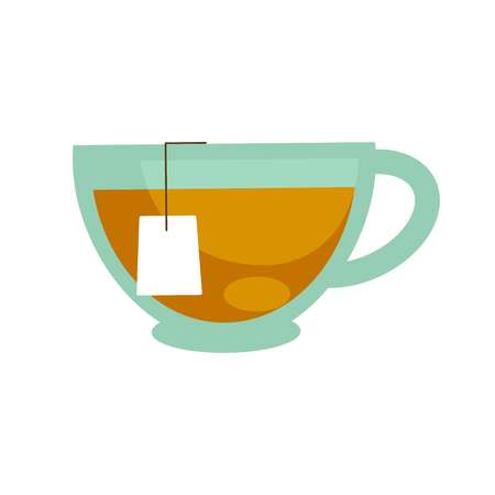 Tea in traditional glass cup isolated on white. Vector illustration in flat design of non alcoholic beverage and paper package to make sealing brew. Teatime template picture of herbal drink