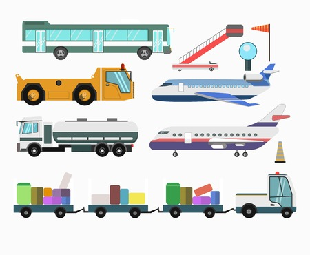 tow tractor: Airport passenger service vehicles and planes icons Illustration