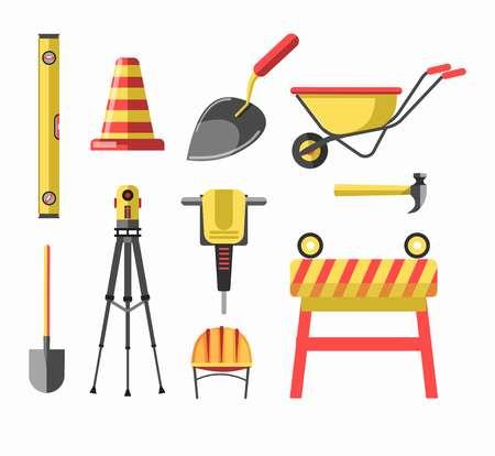 Building construction equipment tools icons set