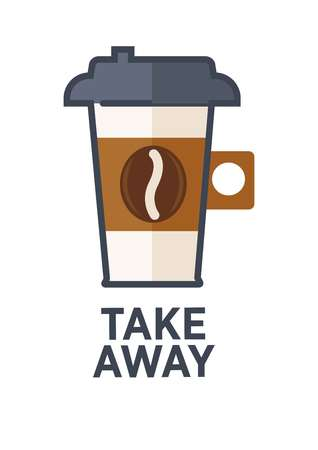 steamy: Coffee drink cup flat icon for takeaway cafe menu Illustration