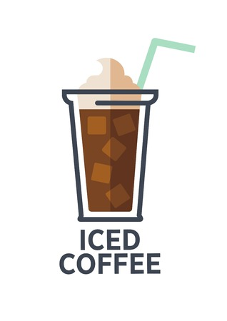 food: Coffee drink cup flat icon for takeaway cafe menu Illustration