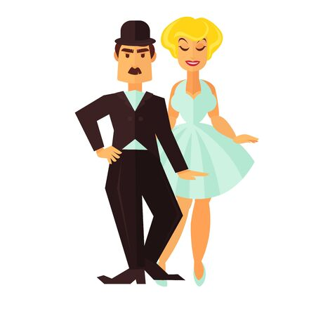 Cinema actor and actress for movie flat icon Illustration