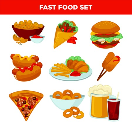 fast meal: Fast food meal flat icons set