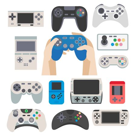 gamepad: Gamer gamepad and gaming controller device isolated icons