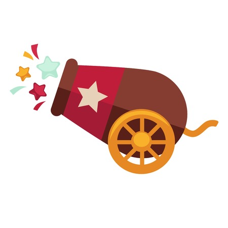 Circus cannon retro vector isolated flat icon