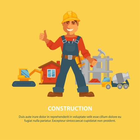 building site: Construction and house building worker equipment vector poster Illustration