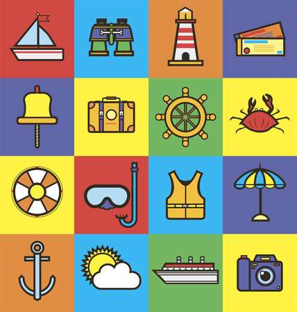 cruise travel: Sea cruise travel or summer ocean vacation flat icons