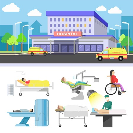 traumatology: Hospital building and medical patients icons vector flat set Illustration