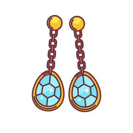 Jewelry golden handmade earrings of gems. Vector flat icon of luxury bijou ear pendants. Design element for jeweler shop